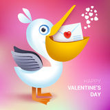 Valentines day illustration. Pelican holding envelope with heart Royalty Free Stock Photography