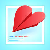 Valentines day illustration. Red paper plane shaped of heart on Stock Photography
