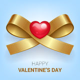 Valentines day illustration. Ribbon with heart. Vector Royalty Free Stock Image