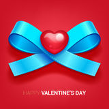 Valentines day illustration. Ribbon with heart. Stock Photos