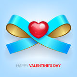 Valentines day illustration. Ribbon with heart. Vector Stock Photo