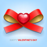 Valentines day illustration. Ribbon with heart. Vector Royalty Free Stock Images