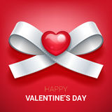 Valentines day illustration. Ribbon with heart. Royalty Free Stock Images