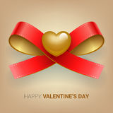 Valentines day illustration. Ribbon with heart. Royalty Free Stock Photography