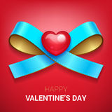Valentines day illustration. Ribbon with heart. Royalty Free Stock Image