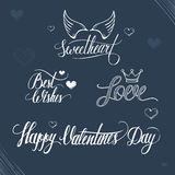 Valentines day illustration and typography elements. Valentines day romantic illustration and typography elements Stock Photography