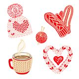 Valentines day illustration with warm knitted accessories: hat with pom pom, mittens and snood scarf. Red hot cocoa or coffee cup. vector illustration