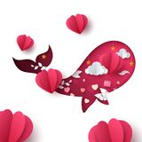 Valentines day illustration. Whale paper cartoon characters. Vector eps 10 Stock Photo