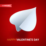 Valentines day illustration. White paper plane shaped of heart o Royalty Free Stock Images