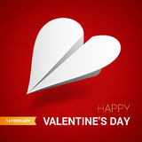 Valentines day illustration. White paper plane shaped of heart. Vector Stock Photo