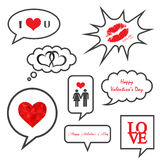 Valentines day illustrations icon set Royalty Free Stock Photography