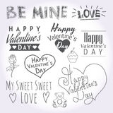 Valentines day illustrations and typography. Great Valentine day typography and logotypes. Good for your greeting cards or adv production Royalty Free Stock Photo