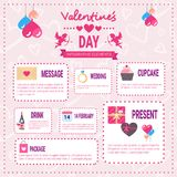 Valentines Day Infographic Elements Icons Over Pink Background, Love Holiday Info Graphic. Flat Vector Illustration Stock Photos