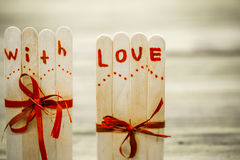 Valentines day inscription with love Stock Photos