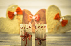 Valentines day inscription with love Stock Photo