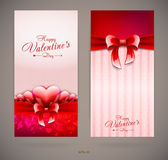 Valentines day invitation cards with glossy hearts Royalty Free Stock Photos