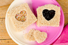 Valentines day kid sandwich Royalty Free Stock Photos