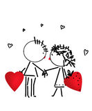 Valentines Day kiss, cartoon romantic people in love Stock Photo