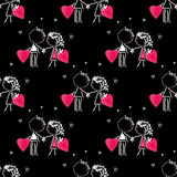 Valentines Day kiss, cartoon romantic people in love Royalty Free Stock Images