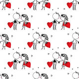 Valentines Day kiss, cartoon romantic people in love Stock Photo
