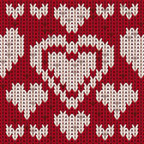 Valentines day knitted hearts, vector Royalty Free Stock Image