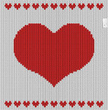 Valentines day knitted pattern. 100% pure love - text on label. Background vector illustration 10 EPS Royalty Free Stock Photo