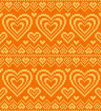 Valentines day knitted vector seamless pattern Royalty Free Stock Photography