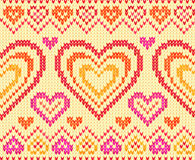 Valentines day knitted vector seamless pattern Stock Photo