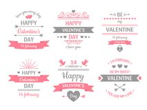 Valentines day label. Vintage valentine card banner, love frame and retro love wishes greeting cards vector illustration. Valentines day label. Vintage valentine stock illustration