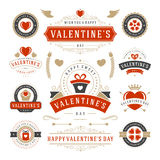 Valentines Day Labels and Cards Set, Heart Icons Stock Photo