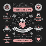 Valentines Day Labels and Cards Set, Heart Icons Royalty Free Stock Photo