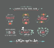Valentines day labels chalkboard Royalty Free Stock Photos