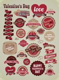 Valentines day labels, tags, decorative items Stock Photo