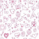 Valentines Day. Large icons set. Seamless pattern Royalty Free Stock Photography