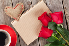 Valentines day letter, coffee cup and red roses Stock Photo