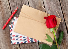 Valentines day letter and red rose Stock Images
