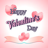 Valentines Day Lettering Card. Happy Valentines Day Lettering Greeting Card Illustration Stock Photos