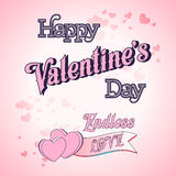 Valentines Day Lettering Card. Happy Valentines Day Lettering Greeting Card Illustration Royalty Free Stock Image