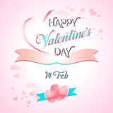 Valentines Day Lettering Card. Happy Valentines Day Lettering Greeting Card Illustration Royalty Free Stock Photography