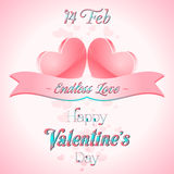 Valentines Day Lettering Card. Happy Valentines Day Lettering Greeting Card Illustration Royalty Free Stock Photo