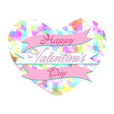 Valentines Day Lettering Card. Happy Valentines Day Lettering Greeting Card Illustration Stock Image
