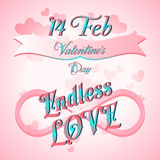 Valentines Day Lettering Card. Happy Valentines Day Lettering Greeting Card, Vector Illustration Stock Photography