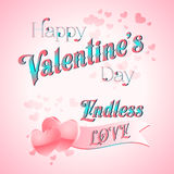 Valentines Day Lettering Card. Happy Valentines Day Lettering Greeting Card, Vector Illustration Stock Photos