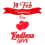 Valentines Day Lettering Card. Happy Valentines Day Lettering Greeting Card, Vector Illustration Royalty Free Stock Photo