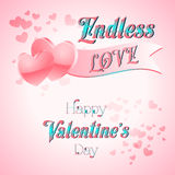 Valentines Day Lettering Card. Happy Valentines Day Lettering Greeting Card, Vector Illustration Royalty Free Stock Images