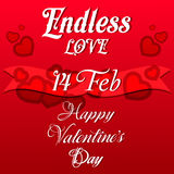 Valentines Day Lettering Card. Happy Valentines Day Lettering Greeting Card, Vector Illustration Stock Images