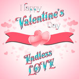 Valentines Day Lettering Card. Happy Valentines Day Lettering Greeting Card, Vector Illustration Royalty Free Stock Photos