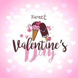 Valentines Day Lettering Card with ice cream in love. Typographic Background With Ornaments and hearts Royalty Free Stock Images