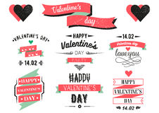 Valentines day lettering cards. Labels and logo Royalty Free Stock Image