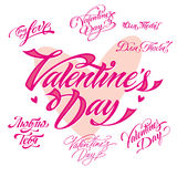 Valentines day lettering set Royalty Free Stock Photos